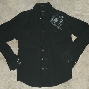 Bke black snap shirt slim fit size xl
